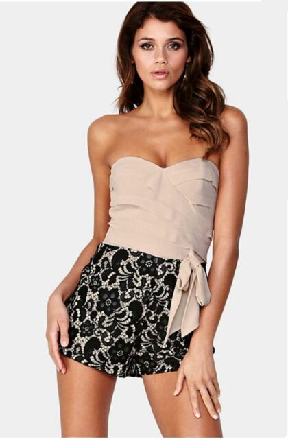 7bf20b7660 BNWT Lipsy Playsuit 14 Lace Shorts Black Pink Straps Bandeau Club Party  Holiday