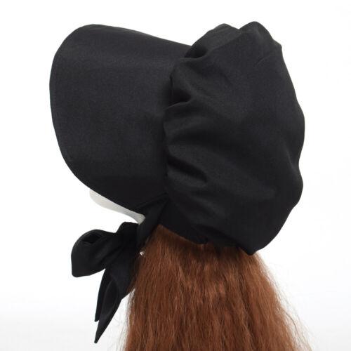 Blessume Women Victorian Black Bonnet Maid Black Sun Hat Civil War Hat