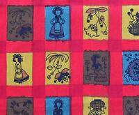 Cotton Quilting Fabric Stein-tex Folk Art Plaid In Rich Colors Bty 44 Width