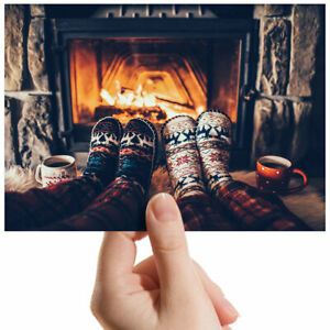 Cozy-Winter-Fireplace-Socks-Small-Photograph-6-034-x-4-034-Art-Print-Photo-Gift-3974
