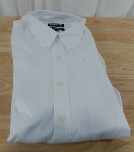 USED Mens Kirkland Signature Button Down Cotton Dress Shirt w//Button Down Collar