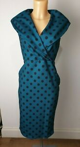 New-Ex-Quiz-Ladies-Green-Black-Polka-Bodycon-Dress-Xmas-Party-Dress-Size-8-16