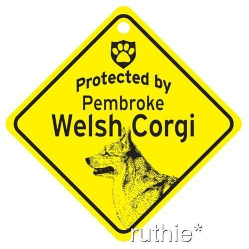 Protected by Pembroke Welsh Corgi Window Sign Made USA