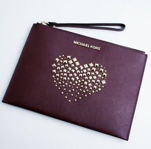 d0f1c121e34f Michael Kors Bag Clutch Bag Adele Clutch Zip Saffiano Merlot New | eBay