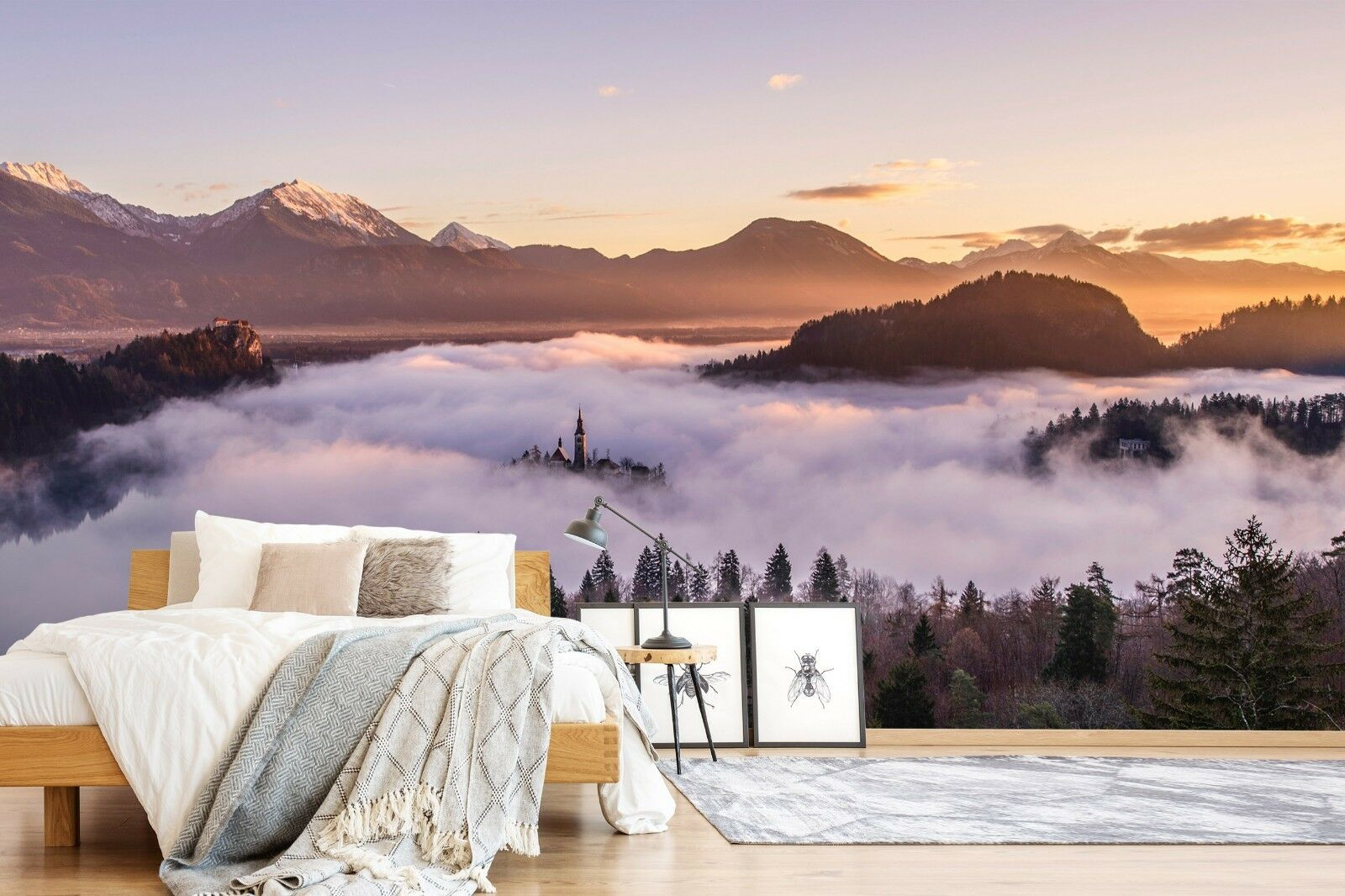 3D Sunset Snow Mountain 09 Wall Paper Exclusive MXY Wallpaper Mural Decal Indoor