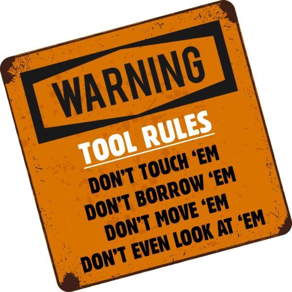 Alarm Funny Tool Rules Don't Toolbox Tool Box Chest Bag Vinyl Car Van Sticker Decal Vloeiende Circulatie En Pijn Stoppen