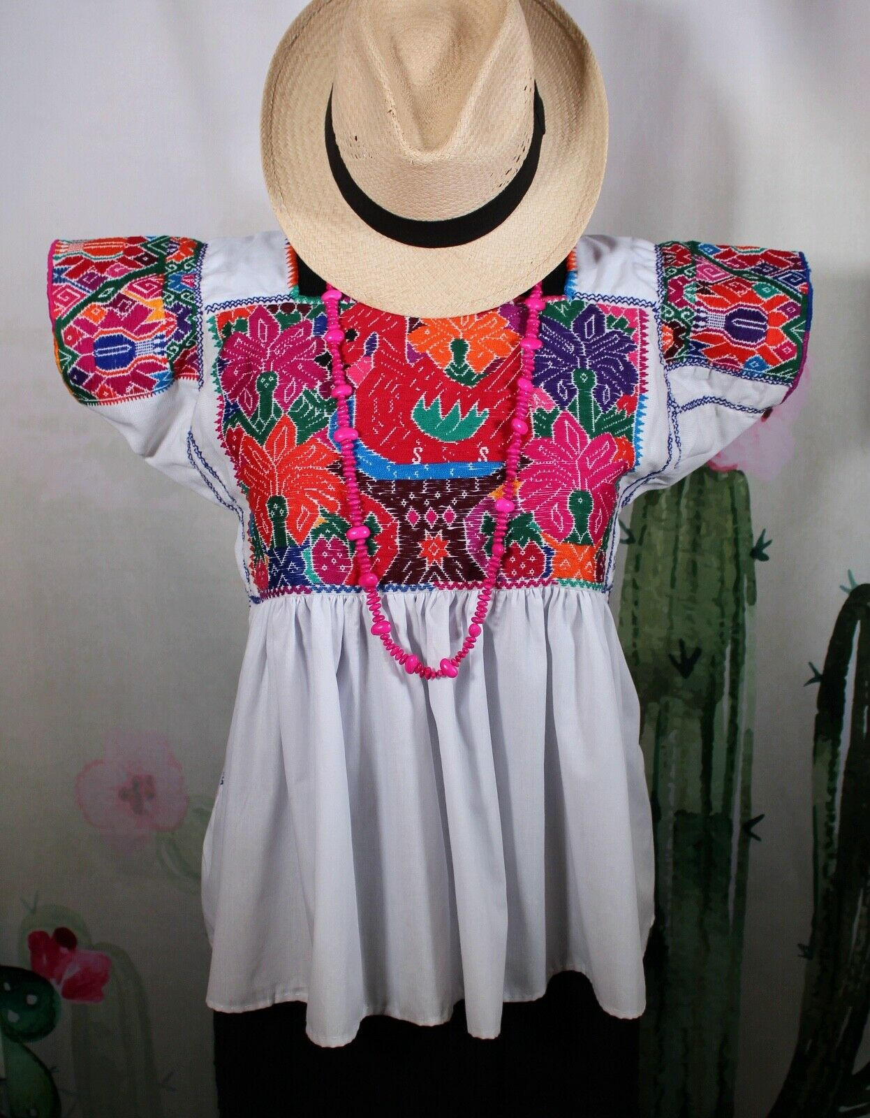 Med Sz Hand Embroidered Peasant Blouse Swan Birds Parrot Nahua Puebla Mexico