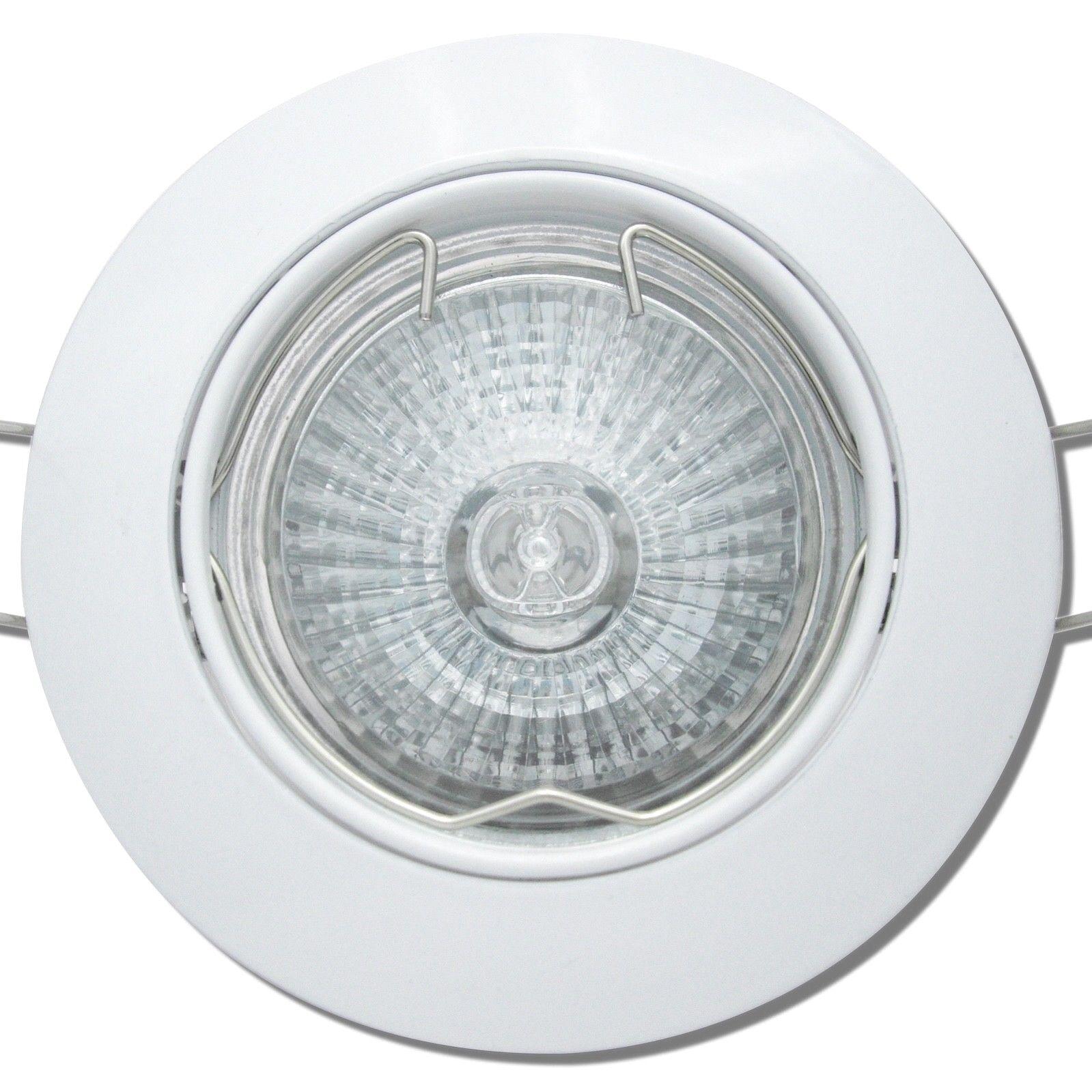 7 x Gu10 Halogen Einbauleuchten Einbaulampen JAN 230V Spot-Downlights Farbe Weiß