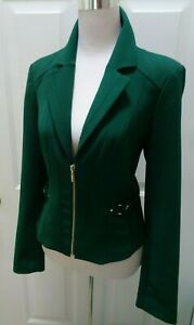 WHITE-HOUSE-BLACK-MARKET-FORREST-GREEN-STRETCH-GOLD-ZIPPER-BLAZER-JACKET-SIZE-2