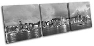 Hong-Kong-Skyline-Night-Asia-Asian-City-TREBLE-CANVAS-WALL-ART-Picture-Print