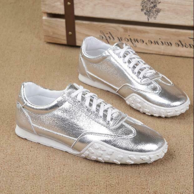 Mens Patent Leather Running shoes British Low Toe Sneakers Athletic Antislip