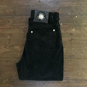 Rare-VERSACE-Jeans-Couture-Womens-SUEDE-Trousers-HIGH-WAIST-W27-L26-Black