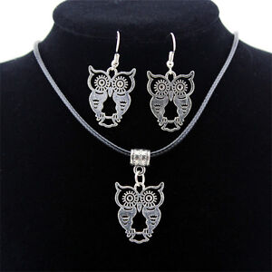 Fashion-Vintage-Jewelry-Set-Thai-Silver-Necklace-Earrings-Woman-Owl-Pendant-Gift