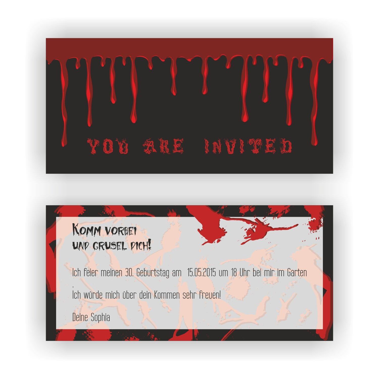 Einladungskarten Geburtstag Einladungen Halloween Horror Blaut Halloweenparty E33