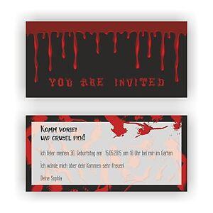 Das Bild Wird Geladen Einladungskarten Geburtstag Einladungen Halloween  Horror Blut Halloweenparty E33