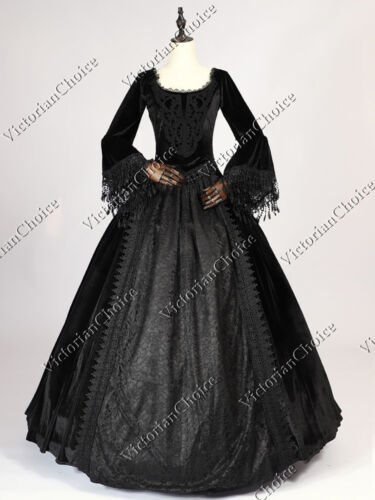 Steampunk Dresses | Women & Girl Costumes    Victorian Marie Antoinette Black Velvet Gothic Evening Ball Gown Dress N 153 $177.45 AT vintagedancer.com