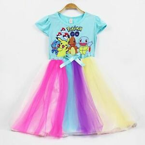 Children-Girl-Pokemon-Blue-Colorful-Dress-Size-120