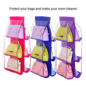 6-Pockets-Clear-Hanging-Purse-Handbag-Tote-Bag-Storage-Organizer-Closet-Rack-Bag