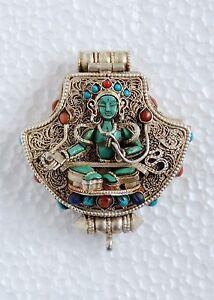 Green tara ghau tibetan shrine silver prayer box pendant from patan image is loading green tara ghau tibetan shrine silver prayer box mozeypictures Gallery
