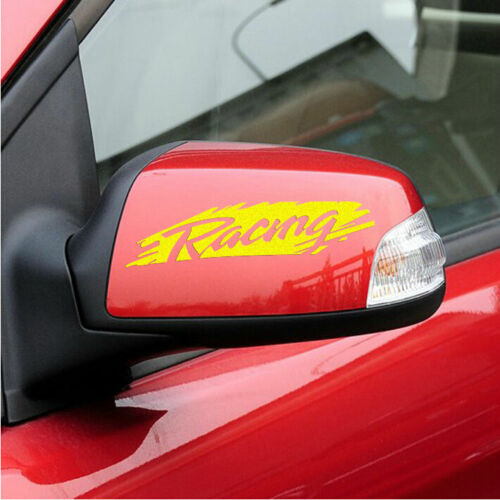Graphics Vinyl RACING Rearview Mirror Sticker Hollowed Out Decal Emblem 2 PCS