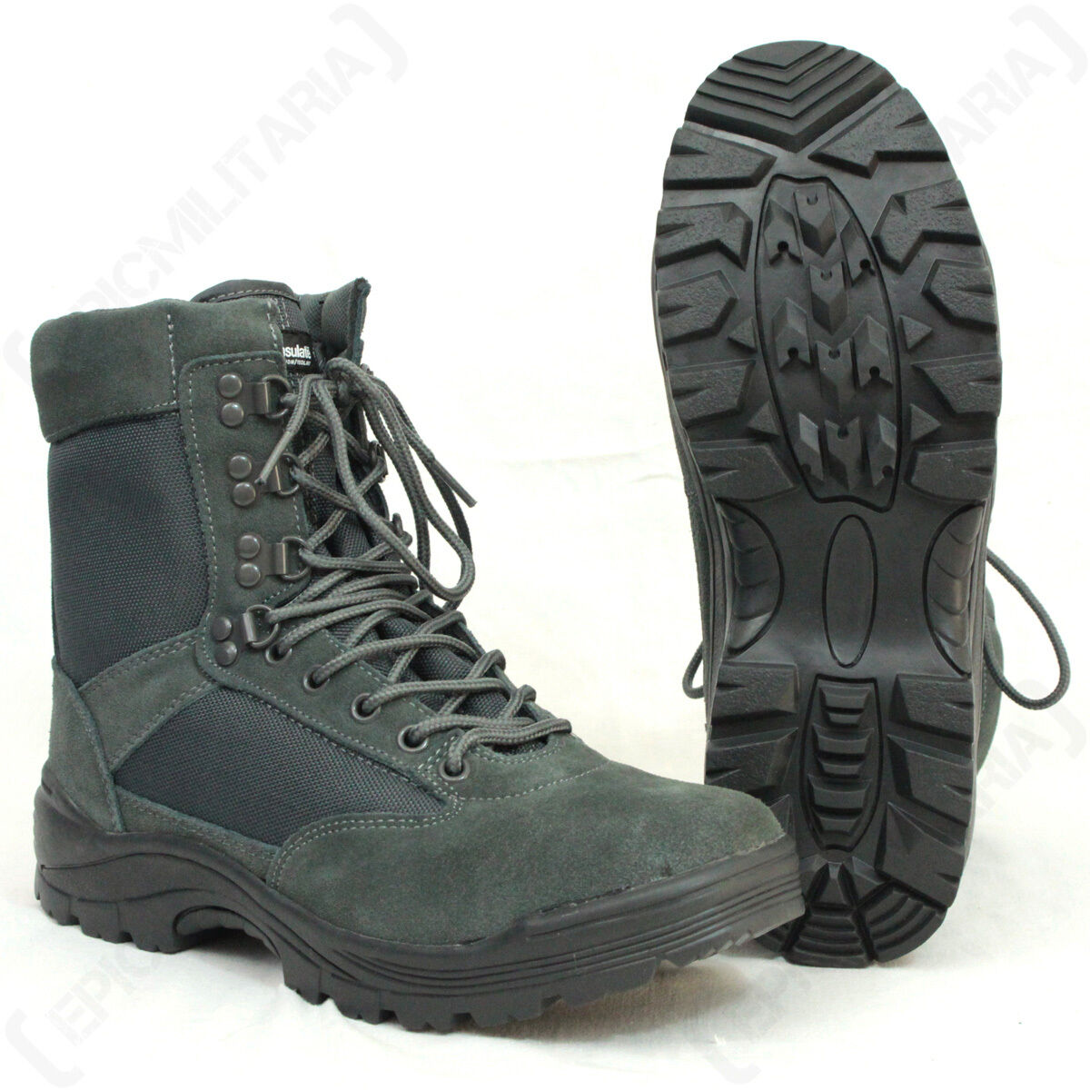 Urban Grey Tactical Army Boot with YKK Zipper - Boots Shoes Military Outdoor New