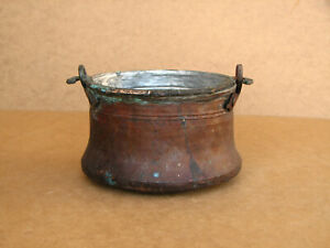 Old-Antique-Primitive-Bowl-Bucket-Vessel-Kettle-Pot-Hand-Wrought-Copper-1920-039-s