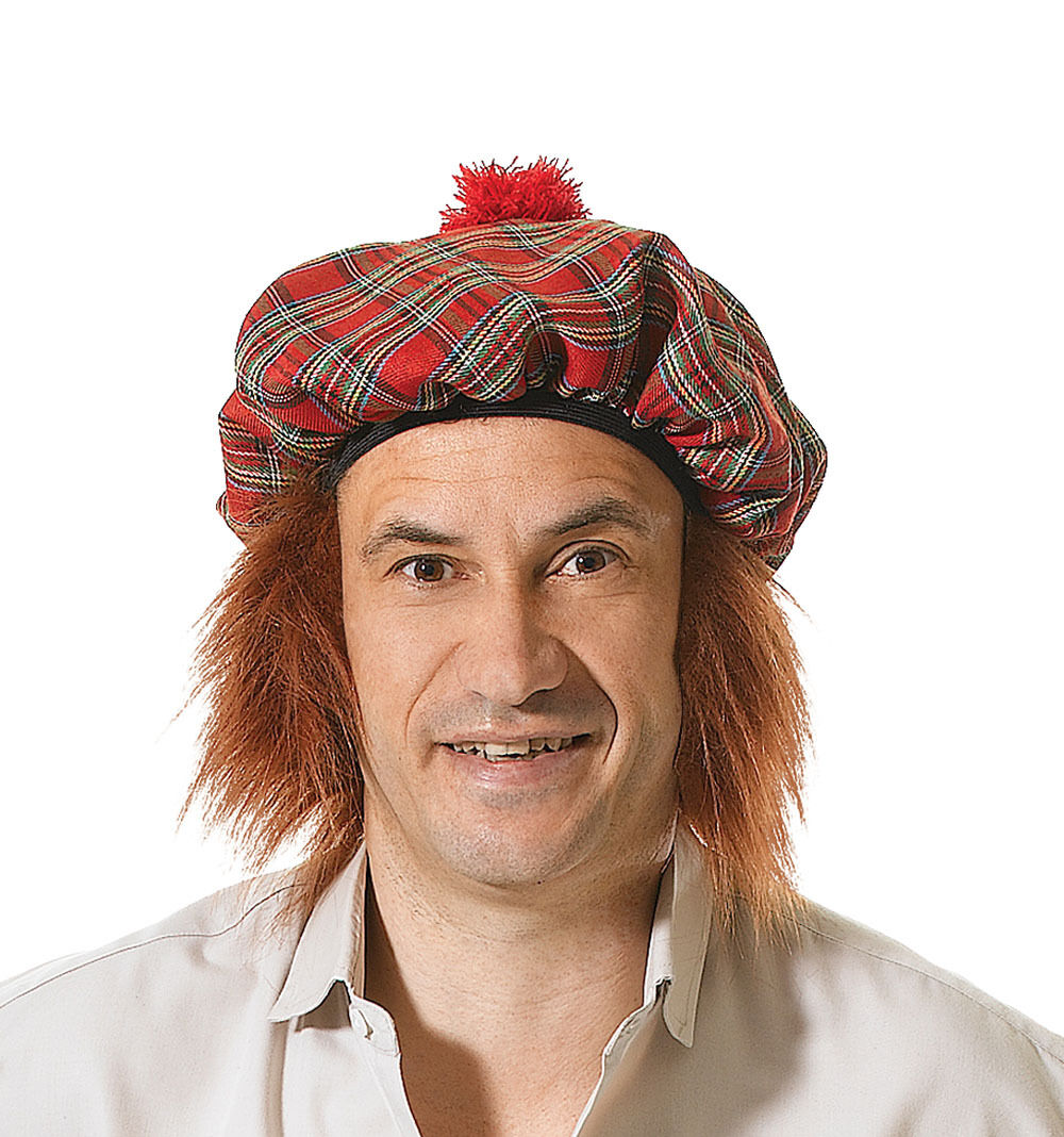 Tartan Red Beret Hat Fancy Dress Scottish Highlander Adults Costume Accessory