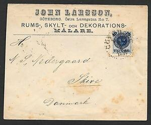 Sweden covers 1890 Firmcover Götheborg to Skive