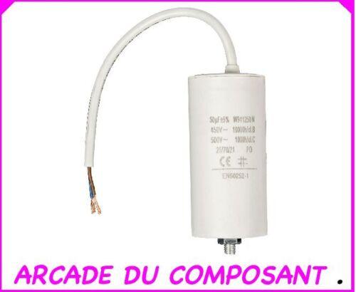 1 CONDO CONDENSATEUR PERMANENT POUR  DEMARRAGE MOTEUR 450V 50MF CABLE