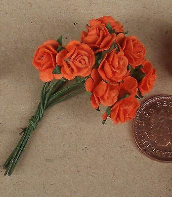 10 de Papel NARANJA ROSAS tumdee una casa de muñecas Escala 1:12 Flores Grupo único