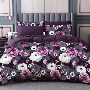 All Size Bed Ultra Soft Quilt Duvet Doona Cover Set Bedding Pillowcase Violet