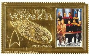 Saint Vincent - Star Trek - Voyager, Gold Stamp Souvenir Sheet - 1997