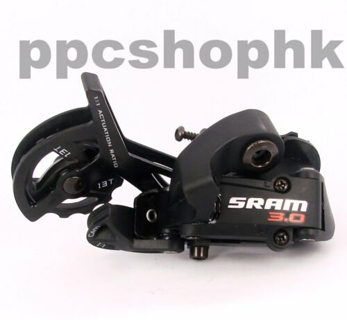 Black SRAM 3.0 Long Cage Rear Derailleur ESP 3.0 1:1 Actuation Ratio