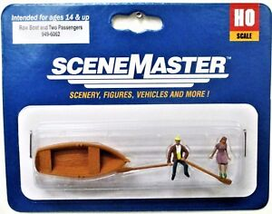 HO-Scale-Walthers-SceneMaster-949-6062-Row-Boat-amp-Two-Passengers-Figure-Set