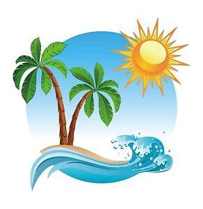 palme tropische insel aufkleber abziehbild grafik vinyl etikett ebay. Black Bedroom Furniture Sets. Home Design Ideas