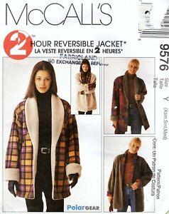 McCall-039-s-9576-Reversible-Jacket-Shawl-Collar-Sewing-Pattern-Size-XS-S-M-Uncut