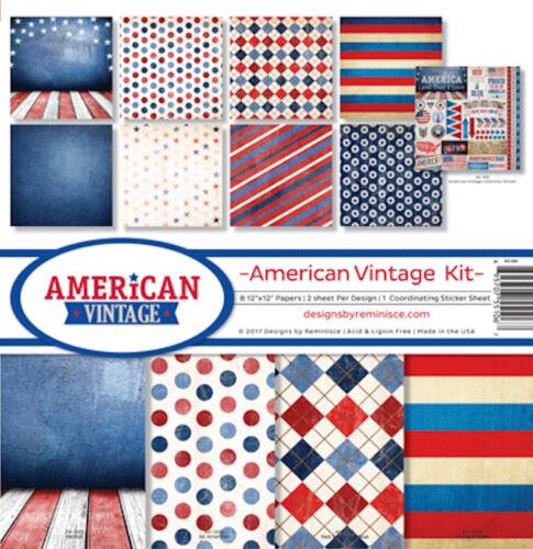 12x12 Papers /& 12x12 Sticker Sheet Reminisce AMERICAN VINTAGE Scrapbook Kit 8