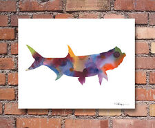 """Rooster Fish Abstract Watercolor 11/"""" x 14/"""" Art Print by Artist DJ Rogers"""