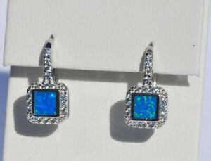 Echt-925-Sterling-Silber-Ohrringe-mit-Zirkonia-blau-synth-Opal-Hochzeit-Nr-281