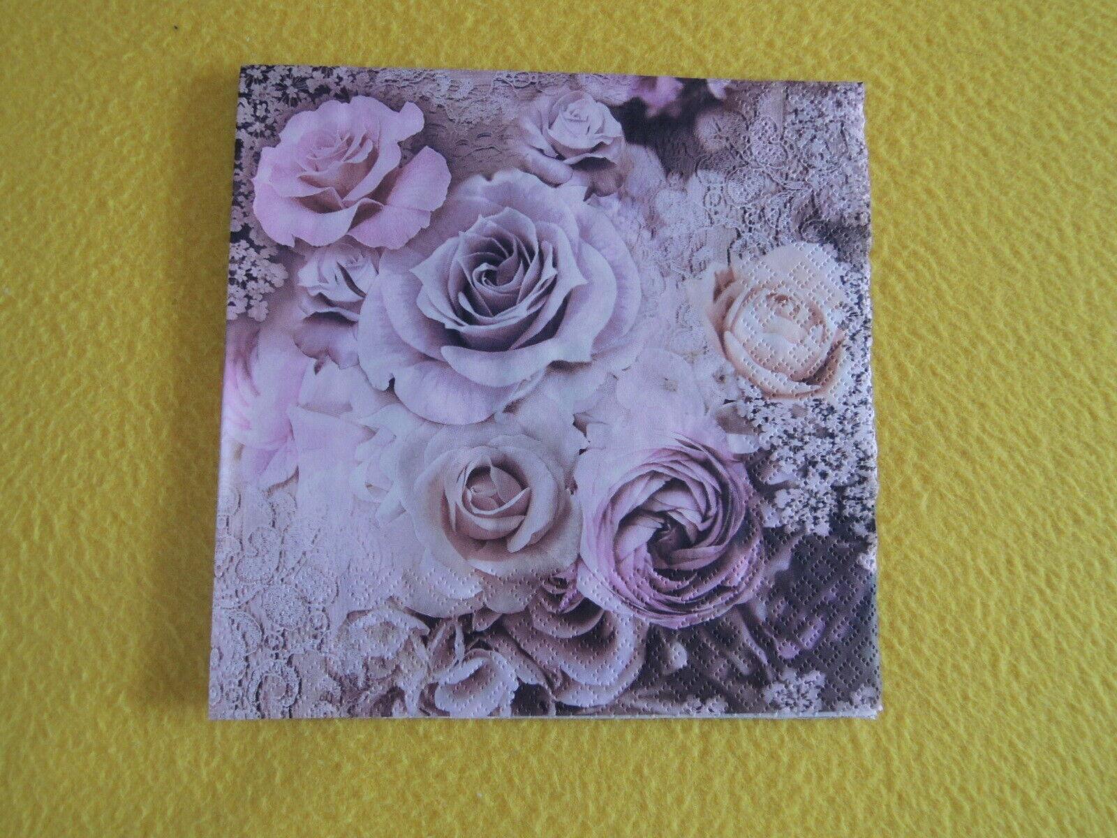 5 stück Servietten Rosen EVELIEN rosa altrosa roses 1//4 Blumen Serviettentechnik