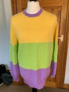 Hand-Knitted-Colourful-Wool-Jumper-Grandma-Granny-Knitted-Ladies-XL-16-ish