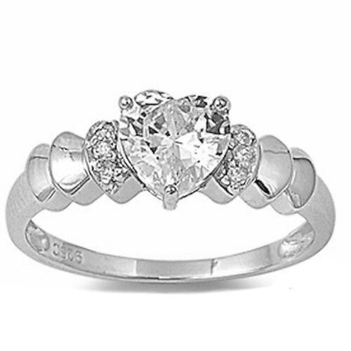 1CT HEART CUT RUSSIAN CZ ENGAGEMENT PROMISE .925 Sterling Silver Ring SIZES 4-9