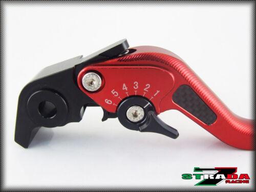 Honda CBR500R//CB500F//X Strada 7 Adjustable Short Carbon Fiber Inlay Levers Red