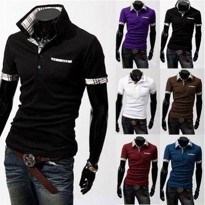 hommes fine polo chemise coton décontracté manche courtes Mature T-shirt carreau