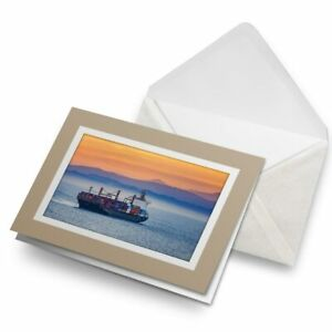 Greetings-Card-Biege-Container-Ship-Cargo-Shipping-Boat-16715