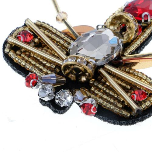3pcs 3D Bee Design Applique Beads Rhinestone Patch Clothing Accessories