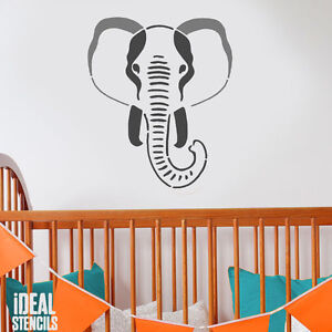 Image Is Loading Elephant Stencil Nursery Wall Painting Fabric Furniture Home