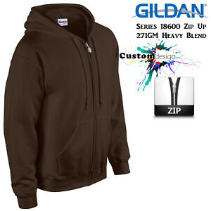 Gildan-Dark-Chocolate-Zip-Up-Hoodie-Basic-Hooded-Sweatshirt-Sweater-Fleece