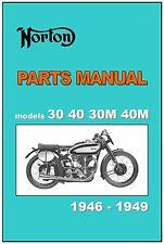 NORTON Parts Manual Model Inter 30 40 & Manx 30M 40M 1946 1947 1948 & 1949 List
