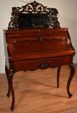 1860s Antique French Victorian Carved Mahogany Satinwood Ladys Secretary desk